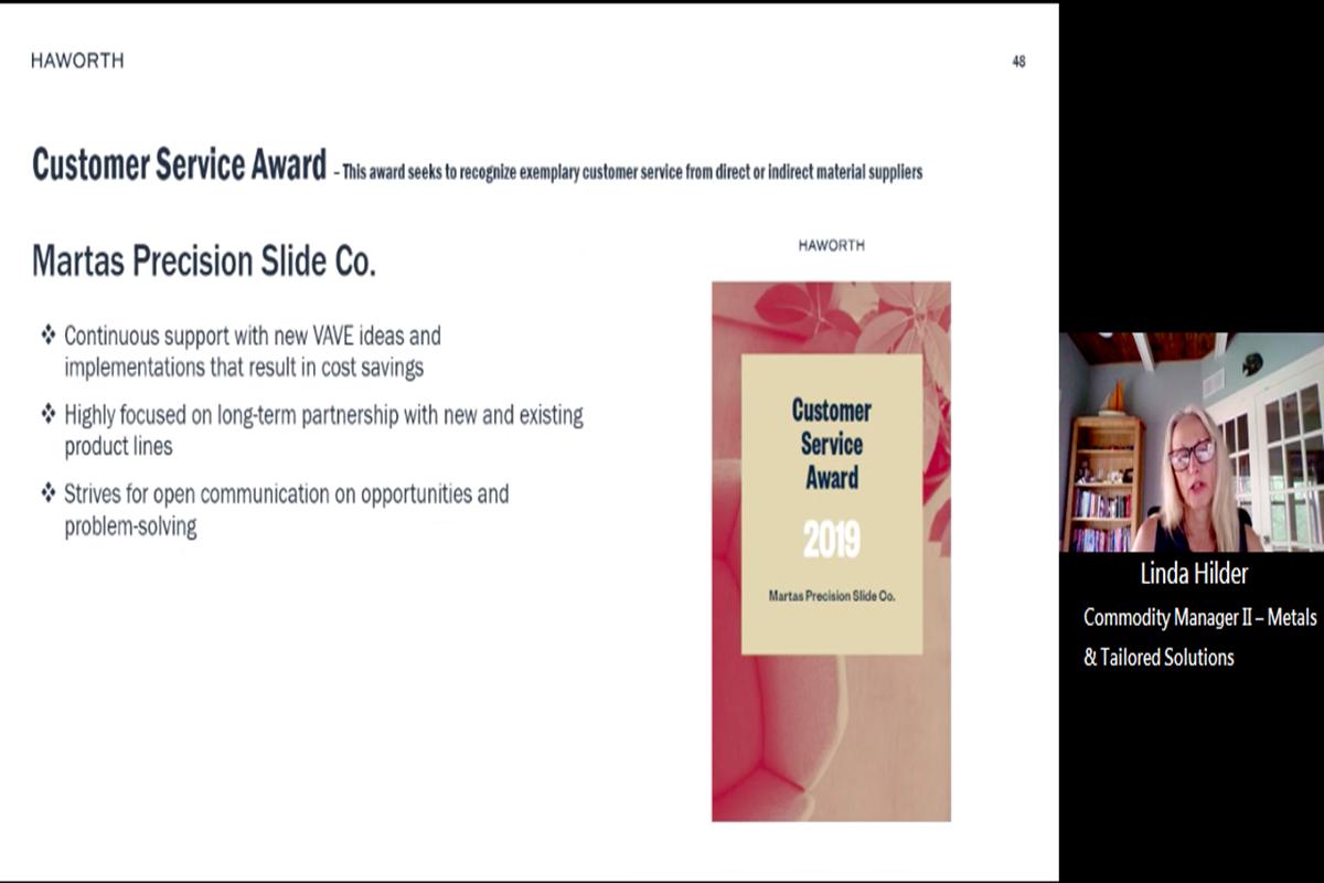 Martas Received Haworth Customer Service Award on 2020 Haworth Supplier Day