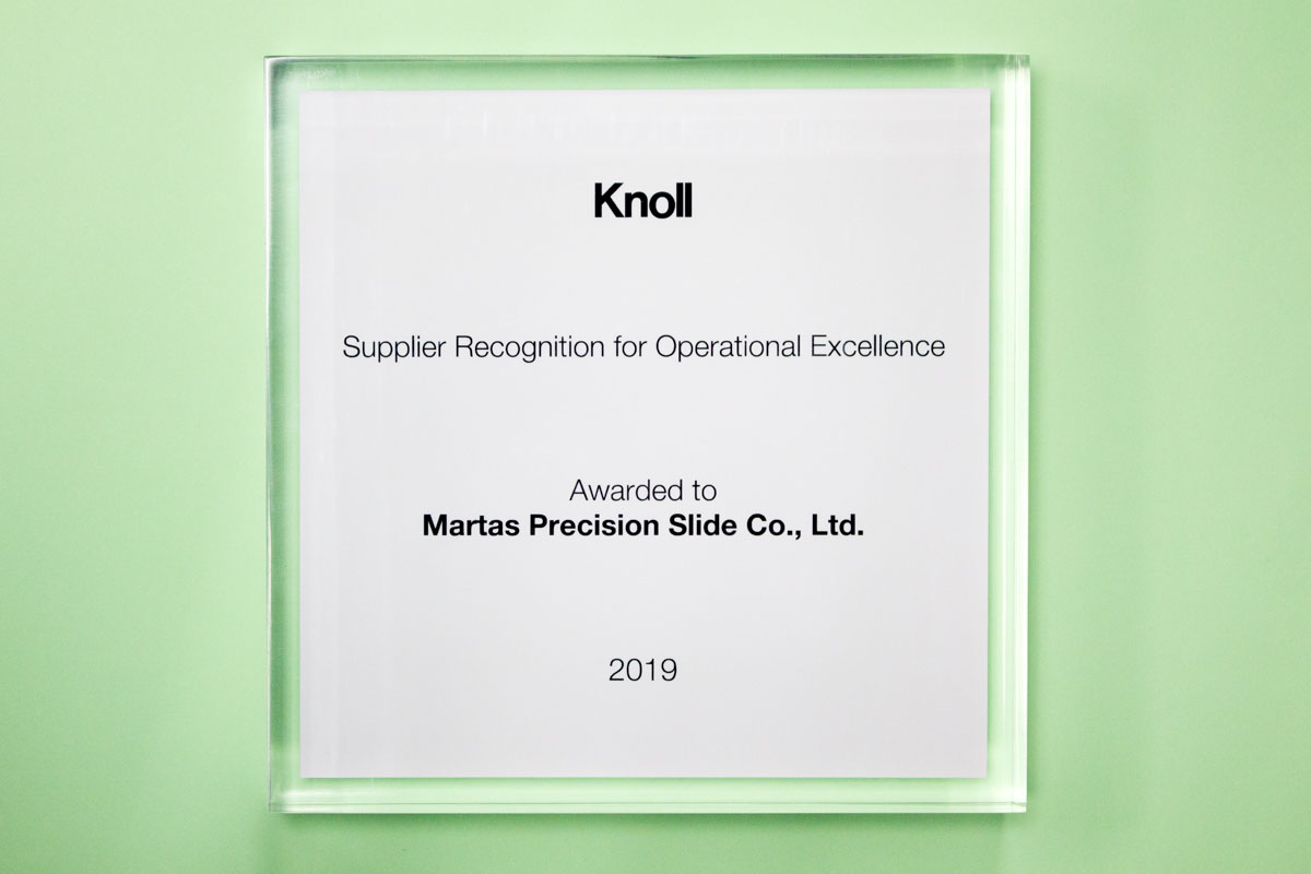 Martas Received Operational Excellence Award from Knoll Supplier Recognition