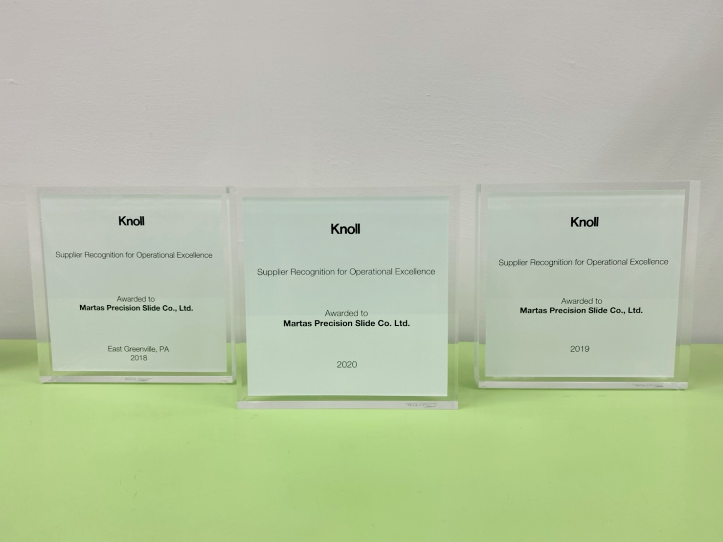 Martas won the Knoll operational excellence award for the third consecutive year